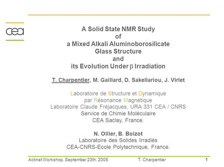 1 T. CharpentierActinet Workshop, September 23th, 2005 A Solid State NMR Study of a Mixed Alkali Aluminoborosilicate Glass Structure and its Evolution.
