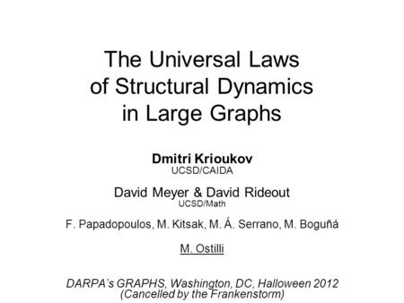 The Universal Laws of Structural Dynamics in Large Graphs Dmitri Krioukov UCSD/CAIDA David Meyer & David Rideout UCSD/Math F. Papadopoulos, M. Kitsak,