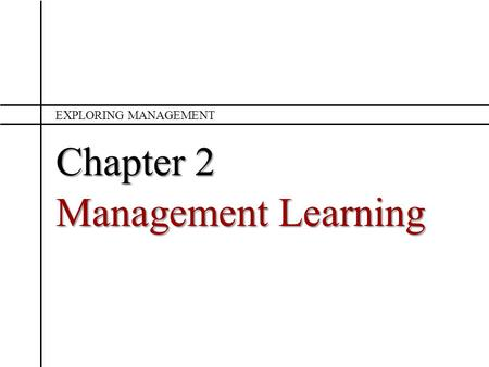 Exploring Management Chapter 2 Management Learning.