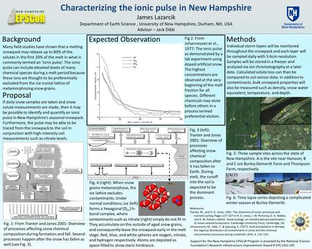 Characterizing the ionic pulse in New Hampshire James Lazarcik Department of Earth Science, University of New Hampshire, Durham, NH, USA Advisor – Jack.