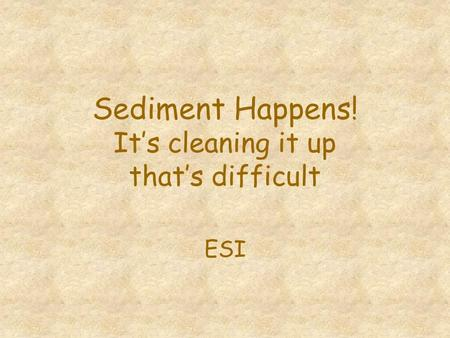 Sediment Happens! It's cleaning it up that's difficult ESI.