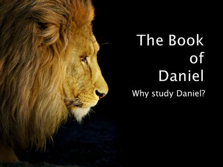 Why study Daniel?.  Some have been opposed to studying from the Old Testament.