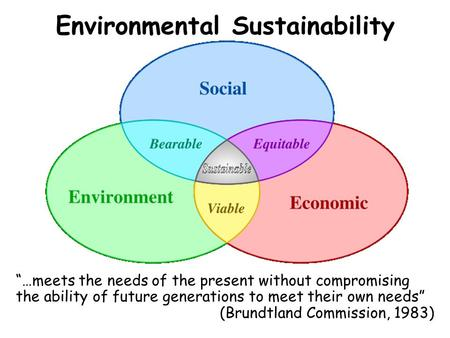 "Environmental Sustainability ""…meets the needs of the present without compromising the ability of future generations to meet their own needs"" (Brundtland."