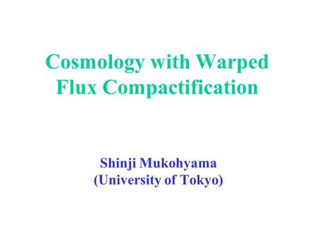 Cosmology with Warped Flux Compactification