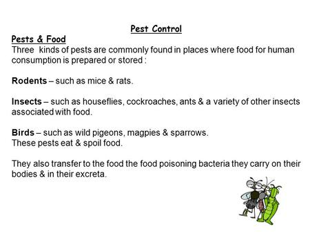 Pest Control Pests & Food Three kinds of pests are commonly found in places where food for human consumption is prepared or stored : Rodents – such as.