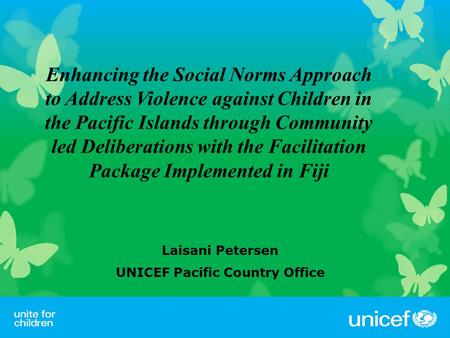 Laisani Petersen UNICEF Pacific Country Office