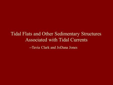 Tidal Flats and Other Sedimentary Structures Associated with Tidal Currents --Tavia Clark and JoDana Jones.
