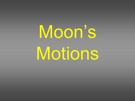 Moon's Motions.