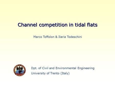 Dpt. of Civil and Environmental Engineering University of Trento (Italy) Channel competition in tidal flats Marco Toffolon & Ilaria Todeschini.