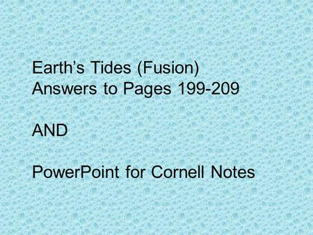 Earth's Tides (Fusion)