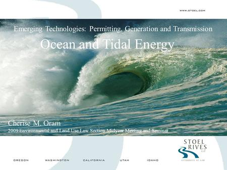 Ocean and Tidal Energy Emerging Technologies: Permitting, Generation and Transmission Cherise M. Oram 2009 Environmental and Land Use Law Section Midyear.