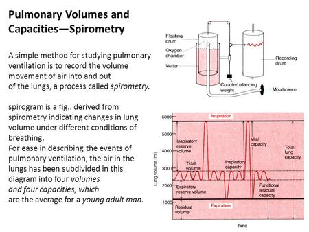 Pulmonary Volumes and Capacities—Spirometry A simple method for studying pulmonary ventilation is to record the volume movement of air into and out of.