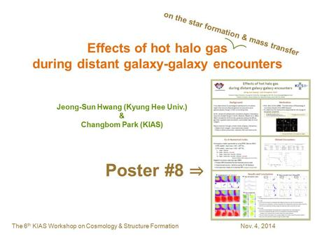 The 6 th KIAS Workshop on Cosmology & Structure Formation Nov. 4, 2014 Effects of hot halo gas during distant galaxy-galaxy encounters Jeong-Sun Hwang.