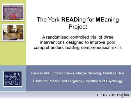 The York READing for MEaning Project