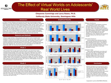 Graphical Results Results The Effect of Virtual Worlds on Adolescents' Real World Lives Using an upper-division undergraduate social science course, students.