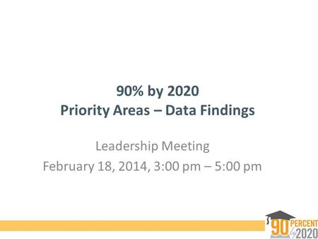90% by 2020 Priority Areas – Data Findings Leadership Meeting February 18, 2014, 3:00 pm – 5:00 pm.