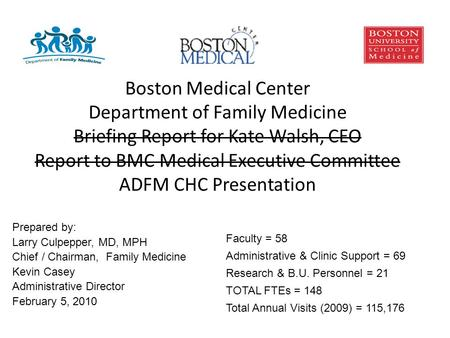 Boston Medical Center Department of Family Medicine Briefing Report for Kate Walsh, CEO Report to BMC Medical Executive Committee ADFM CHC Presentation.