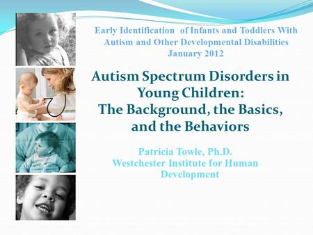 Early Identification of Infants and Toddlers With Autism and Other Developmental Disabilities January 2012 Albany, New York Patricia Towle, Ph.D. Westchester.