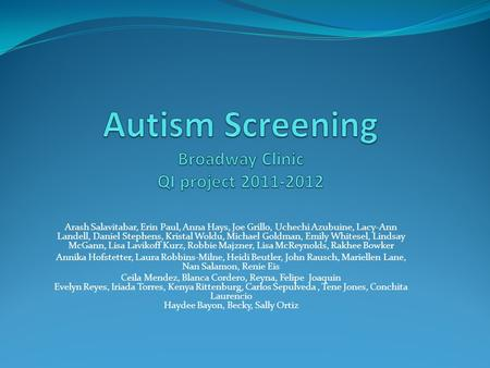 Autism Screening Broadway Clinic QI project