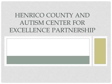 HENRICO COUNTY AND AUTISM CENTER FOR EXCELLENCE PARTNERSHIP.