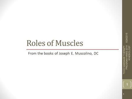 Copyright © 2011, 2007 by Mosby, Inc., an affiliate of Elsevier Inc. All rights reserved. 1 Roles of Muscles From the books of Joseph E. Muscolino, DC.