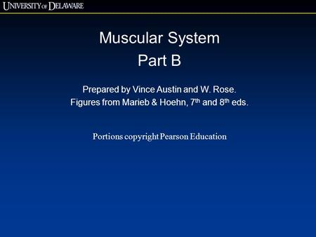 Muscular System Part B Prepared by Vince Austin and W. Rose. Figures from Marieb & Hoehn, 7 th and 8 th eds. Portions copyright Pearson Education.