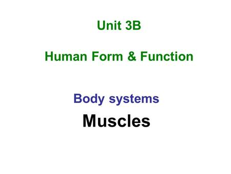 Unit 3B Human Form & Function Body systems Muscles.