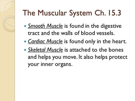 The Muscular System Ch. 15.3 Smooth Muscle is found in the digestive tract and the walls of blood vessels. Cardiac Muscle is found only in the heart. Skeletal.