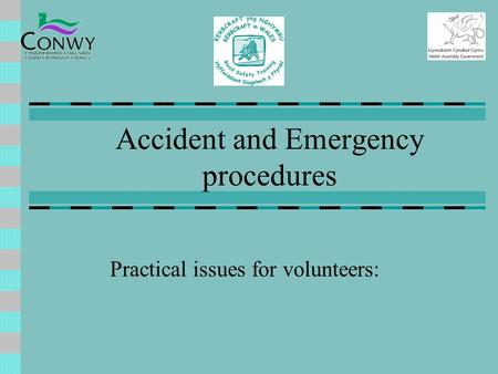 Accident and Emergency procedures Practical issues for volunteers: