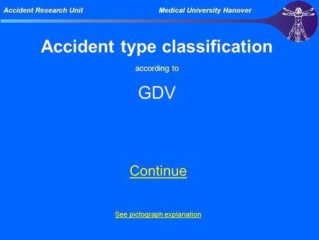 Accident Research Unit Medical University Hanover Accident type classification according to GDV Continue See pictograph explanation.
