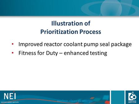 Illustration of Prioritization Process Improved reactor coolant pump seal package Fitness for Duty – enhanced testing.