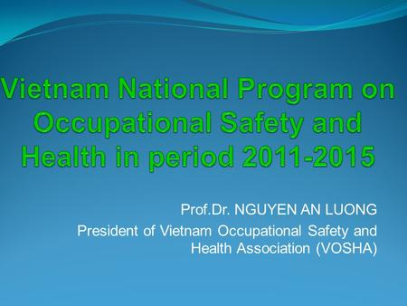 Prof.Dr. NGUYEN AN LUONG President of Vietnam Occupational Safety and Health Association (VOSHA)