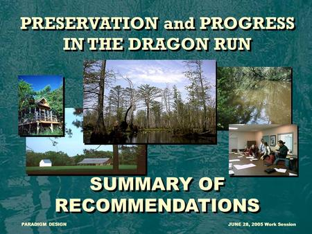 PRESERVATION and PROGRESS IN THE DRAGON RUN SUMMARY OF RECOMMENDATIONS PRESERVATION and PROGRESS IN THE DRAGON RUN SUMMARY OF RECOMMENDATIONS PARADIGM.