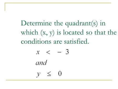 Answer:		 III quadrant. Determine the quadrant(s) in which (x, y) is located so that the conditions are satisfied.