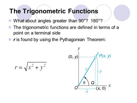The Trigonometric Functions What about angles greater than 90°? 180°? The trigonometric functions are defined in terms of a point on a terminal side r.