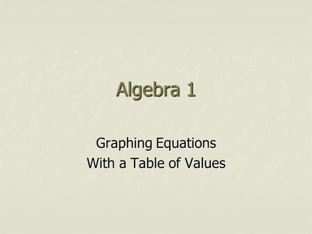 Algebra 1 Graphing Equations With a Table of Values.
