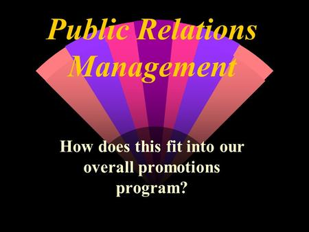 Public Relations Management How does this fit into our overall promotions program?