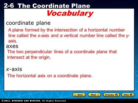Vocabulary coordinate plane axes x-axis