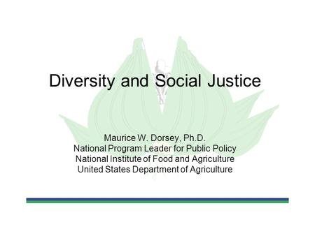 Diversity and Social Justice Maurice W. Dorsey, Ph.D. National Program Leader for Public Policy National Institute of Food and Agriculture United States.