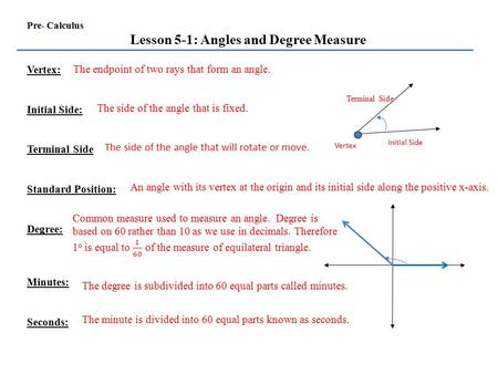 Lesson 5-1: Angles and Degree Measure