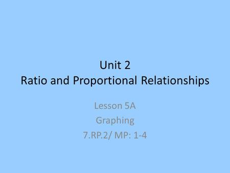 Unit 2 Ratio and Proportional Relationships Lesson 5A Graphing 7.RP.2/ MP: 1-4.