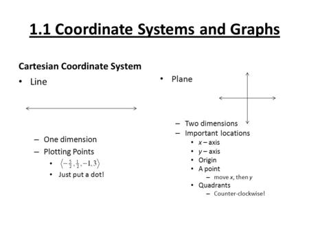 1.1 Coordinate Systems and Graphs Cartesian Coordinate System Line – One dimension – Plotting Points Just put a dot! Plane – Two dimensions – Important.