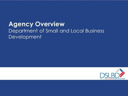Agency Overview Department of Small and Local Business Development.