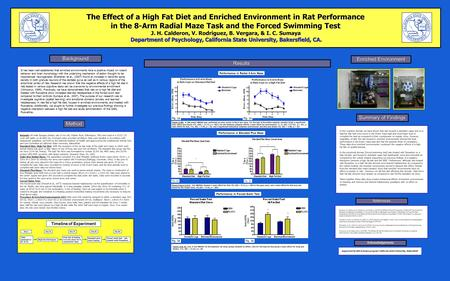 The Effect of a High Fat Diet and Enriched Environment in Rat Performance in the 8-Arm Radial Maze Task and the Forced Swimming Test J. H. Calderon, V.