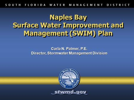 Naples Bay Surface Water Improvement and Management (SWIM) Plan Carla N. Palmer, P.E. Director, Stormwater Management Division Carla N. Palmer, P.E. Director,