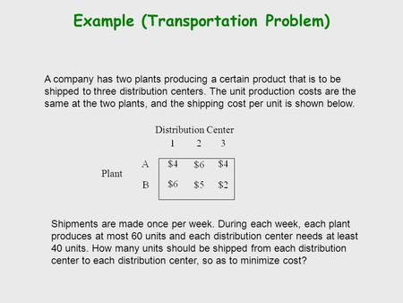 Example (Transportation Problem) A company has two plants producing a certain product that is to be shipped to three distribution centers. The unit production.