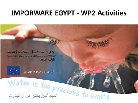 IMPORWARE EGYPT - WP2 Activities. Egyptian Environmental Affairs Agency (EEAA) Established according to the Law 4/1994 (later amended by Law 9/1999) for.