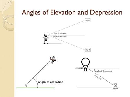 Angles of Elevation and Depression. Ship and Lighthouse The angle of elevation from a ship to the top of a 42 meter tall lighthouse on the shore measures.