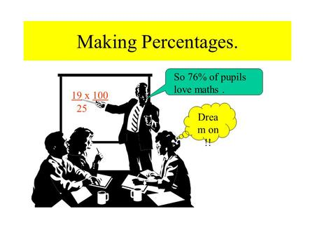 Making Percentages. 19 x 100 25 So 76% of pupils love maths. Drea m on !!
