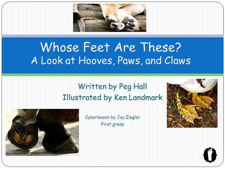 Written by Peg Hall Illustrated by Ken Landmark Cyberlesson by Joy Ziegler First grade Whose Feet Are These? A Look at Hooves, Paws, and Claws.